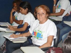 Márcia Dantas, 59, é a aluna mais velha da turma e está animada com o aulão. (Foto: Fabiana De Mutiis/G1)