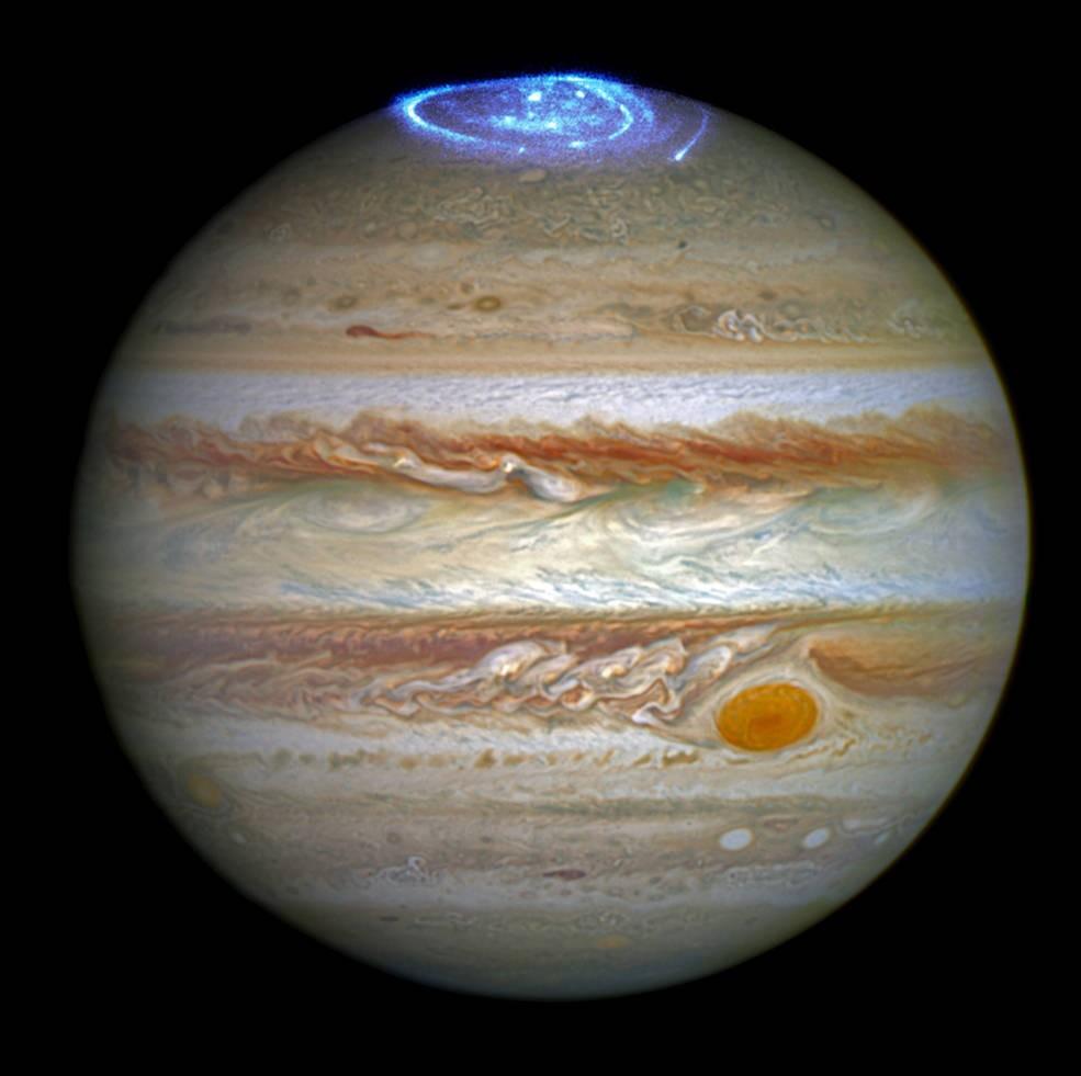 Auroras na atmosfera de Júpiter (Foto: NASA, ESA, e J. Nichols (University of Leicester))