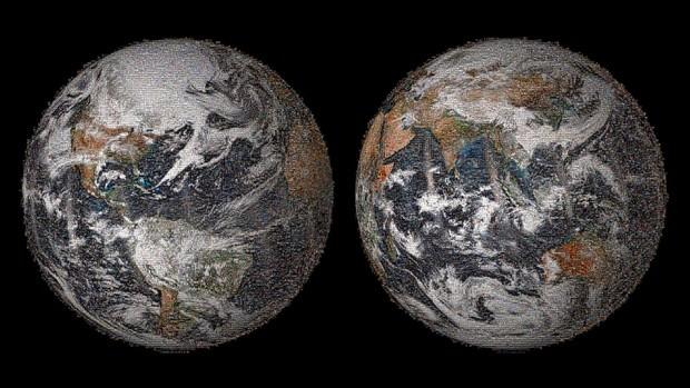 O mosaico de selfies de 3.2 gigapixel foi feito com 36.422 imagens individuais postadas em redes sociais no Dia da Terra, em 22 de abril (Foto: Nasa/Divulgação)