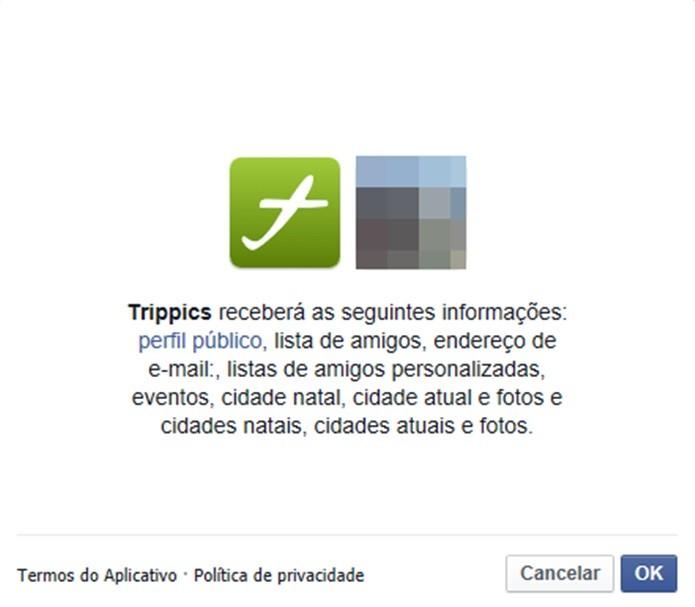 Opção do app acessar informações pessoais do usuário no Facebook (Foto: Reprodução/Carolina Ribeiro) (Foto: Opção do app acessar informações pessoais do usuário no Facebook (Foto: Reprodução/Carolina Ribeiro))