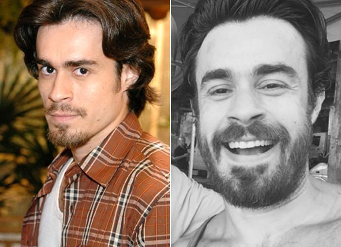 Antes e depois! À esquerda, Erom Cordeiro caracterizado de Zeca em 'América e, à direita, o ator em momento atual (Foto: Márcio de Souza / TV Globo / Arquivo pessoal)
