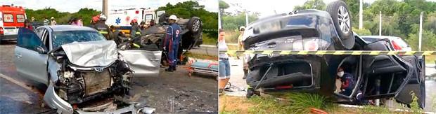 Colisão aconteceu na Rota do Sol, na Zona Sul de Natal (Foto: Reprodução/Inter TV Cabugi)