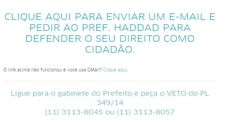 Uber pede que seus usuários entrem em contato com o prefeito de São Paulo (Foto: Reprodução)