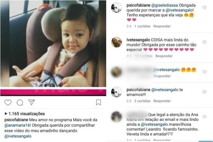 Ivete Sangalo elogia Leandro e agradece carinho de Fabiane por meio das redes sociais (Foto: Fabiane Melo/Arquivo Pessoal)