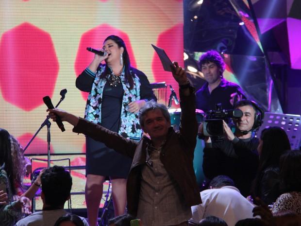 Serginho Groisman se diverte com musical de Fabiana Karla (Foto: Marcos Mazini/Gshow)