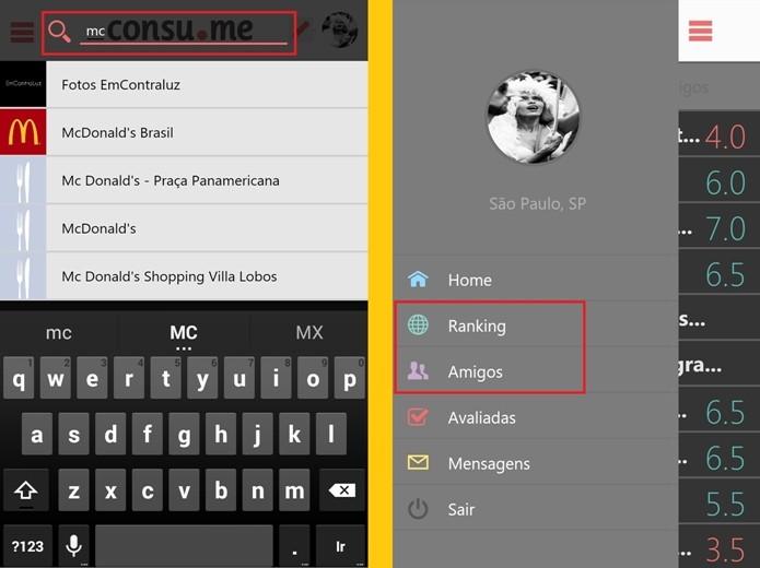 Destaques para as alternativas do app na localização da empresa que será avaliada (Foto: Reprodução/Raquel Freire)