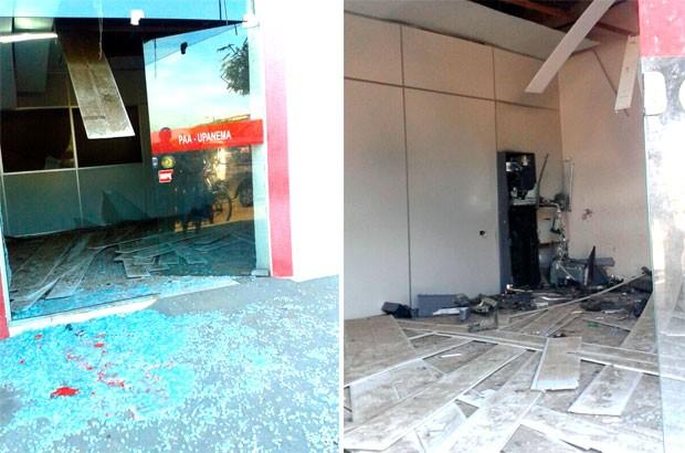 Terminal do Bradesco em Upanema foi destruído com a explosão  (Foto: Renato Medeiros Albuquerque)