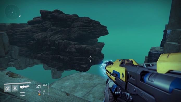 Formação rochosa em área secreta de Destiny lembra o personagem The Arbiter de Halo 2 (Foto: IGN)