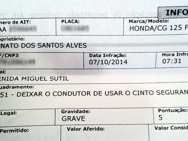 G1 - Motociclista é multado por não usar cinto de segurança em Cuiabá -  notícias em Mato Grosso 5169e9fac2