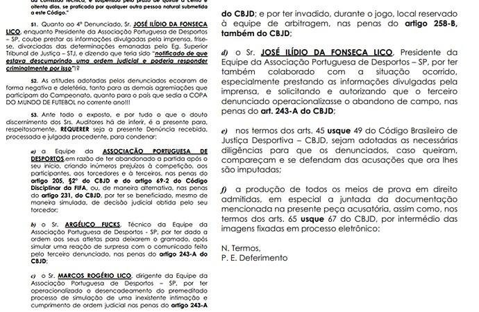 documento portuguesa x joinville (Foto: Reprodução )