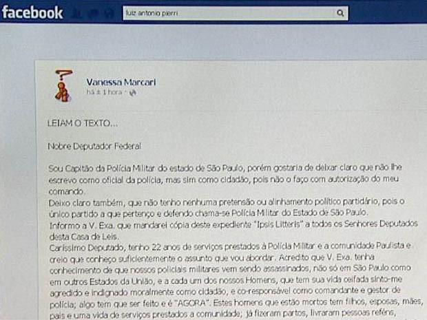 Carta do capitão da PM Maurício de Melo publicada no perfil da cabo da PM Vanessa Marcari (Foto: Antônio Luiz/ EPTV)
