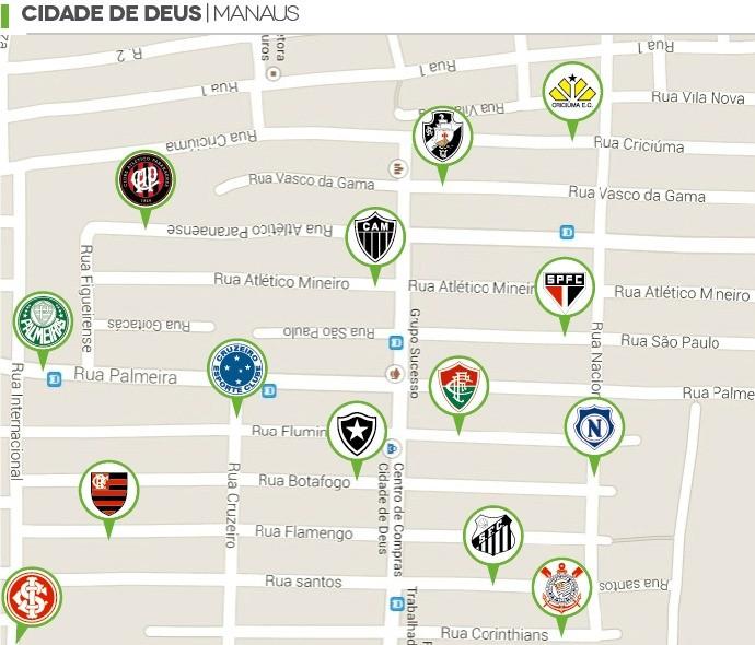 Ruas de Manaus com nome de times brasileiros (Foto: GloboEsporte.com)