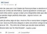 MC Carol denuncia postagens racistas em delegacia no Rio