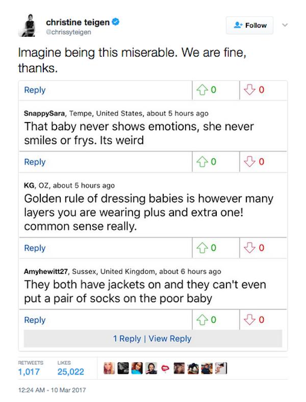 As críticas de Chrissy Teigen aos comentários feitos nas redes sociais (Foto: Twitter)