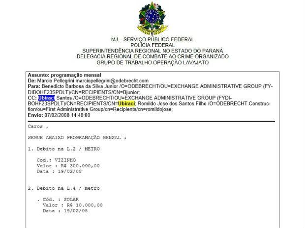 Documento da PF cita email, planilhas e lista obras com possível pagamento de propina (Foto: Reprodução)