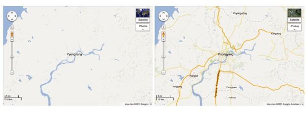 Mapas do Google mostram imagens da Coreia do Norte antes e depois de atualização (Foto: Google/AFP)