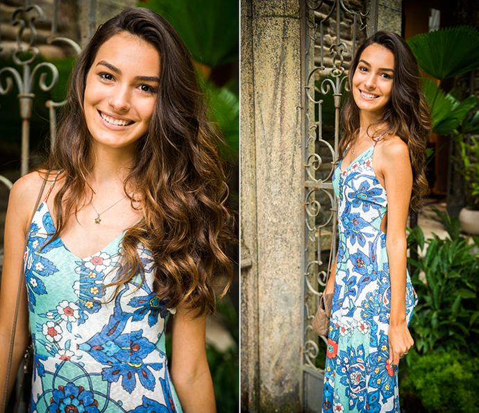 Luciana escolheu um longo florido (Foto: João Miguel Júnior/Globo)