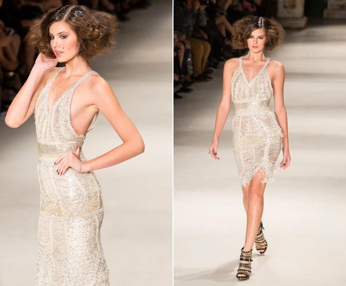Angel usou dois vestidos de comprimentos distintos (Foto: Felipe Monteiro / Gshow)