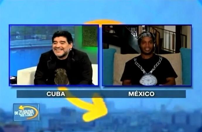 Maradona e Ronaldinho, programa de TV (Foto: Reprodução)