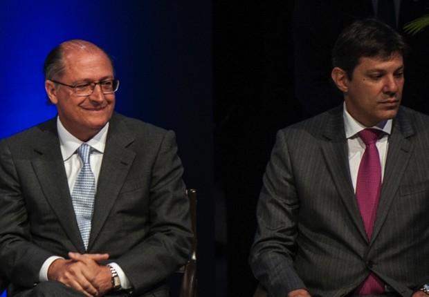 O governador de São Paulo, Geraldo Alckmin (PSDB), e o prefeito de São Paulo, Fernando Haddad (PT) em cerimônia (Foto: Reprodução/Facebook)