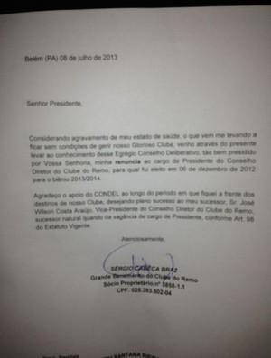 Carta de renúncia de Sergio Cabeça (Foto: Ascom/Remo)