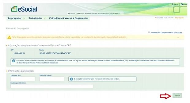 Página de cadastro do empregador (Foto: Reprodução)