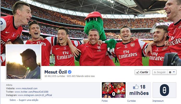 Mesut Ozil do Arsenal tem 18,739,637 de fãs no Facebook (Foto: Reprodução/Facebook)