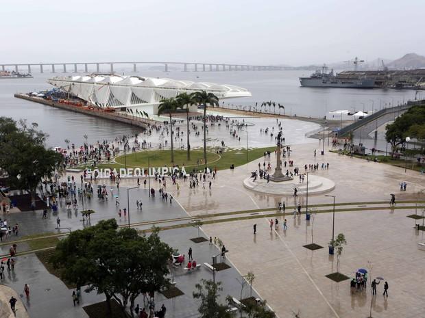 Vista aérea da nova Praça Mauá (Foto: Beth Santos / Prefeitura do Rio)