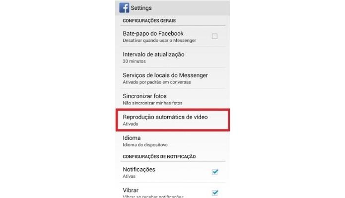 Configurações do aplicativo do Facebook no Android (Foto: Reprodução/Lívia Dâmaso)