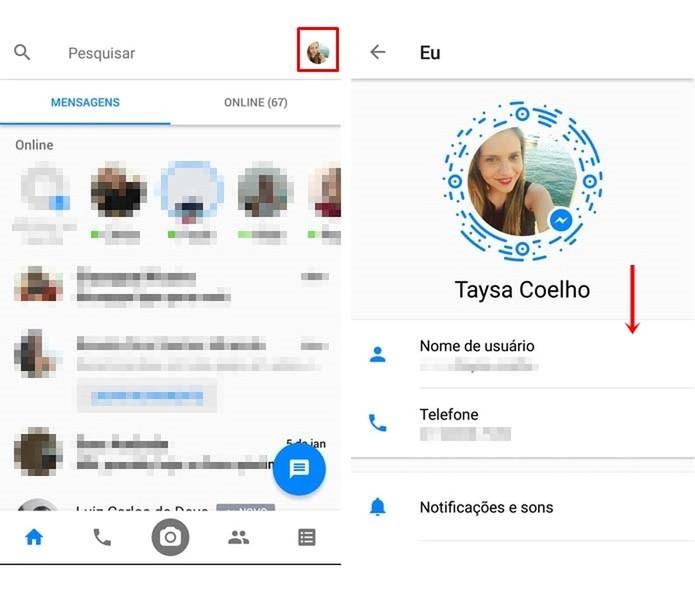 Acesse as configurações do Facebook Messenger (Foto: Reprodução/Taysa Coelho)