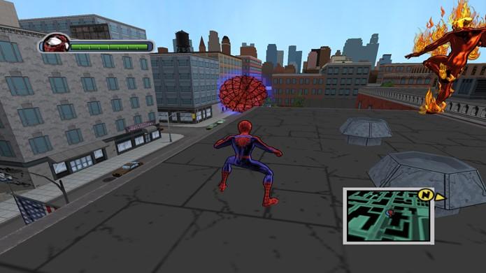 Você pode até apostar corridas contra o Tocha Humana em Ultimate Spider-Man (Foto: reprodução/Youtube)