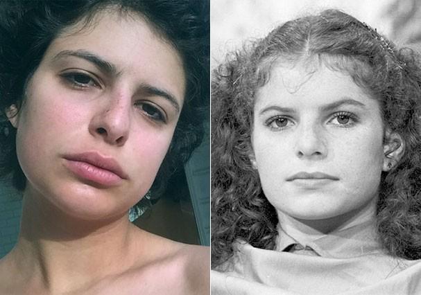 Julia em comparação à mãe, aos 21 anos (Foto: Reprodução/Instagram e Nelson di Rago/Globo)