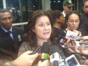 A ministra Miriam Belchior concede entrevista no Ministério do Planejamento sobre o erro do IBGE (Foto: Filipe Matoso / G1)
