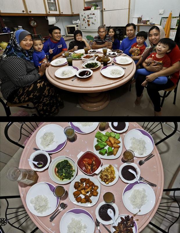 Família malaia celebra o Iftar em Kuala Lumpur (Foto: Vincent Thian/AP)