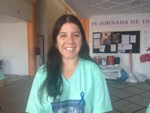 Pedagoga surda Larissa Linar trabalha no Centro de Atendimento ao Surdo em Macapá (Foto: Jéssica Alves/G1)