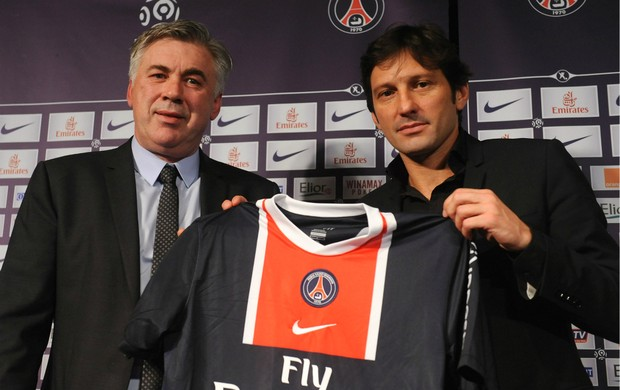Carlo Ancelotti e Leonardo no Paris Saint-Germain (Foto: Getty Images)