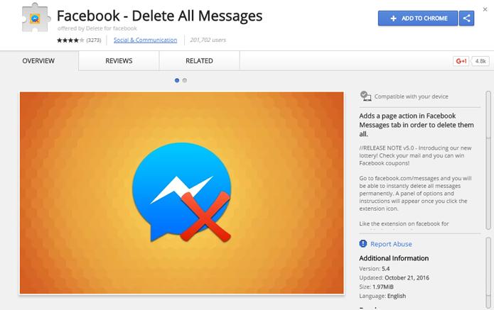 Extensão facilita exclusão de mensagens no Facebook (Foto: Reprodução/Chrome Web Store) (Foto: Extensão facilita exclusão de mensagens no Facebook (Foto: Reprodução/Chrome Web Store))