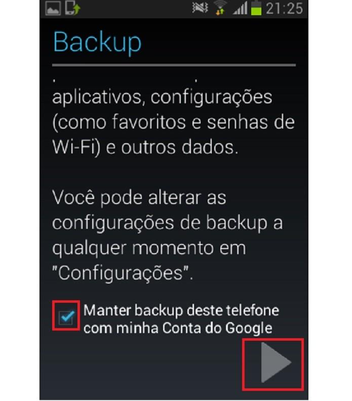 Escolha se deseja fazer o backup (Reprodução/Taysa Coelho)