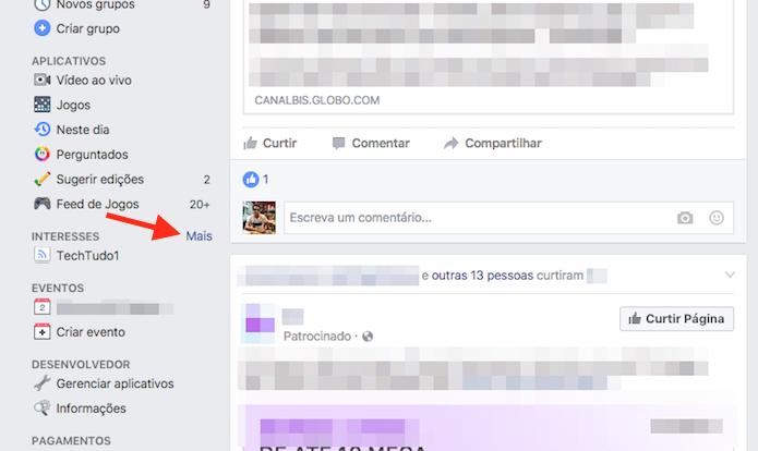 Acesso à página de interesses de uma conta do Facebook (Foto: Reprodução/Marvin Costa)