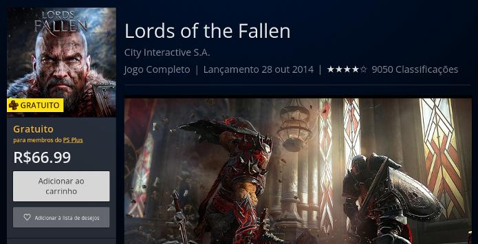 Página de Lords of the Fallen na PS Store (Foto: Reprodução/André Mello)