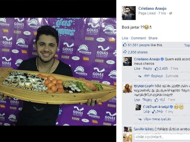 Cristiano Araújo, no Facebook: Bora Jantar? (Foto: Reprodução/Facebook)