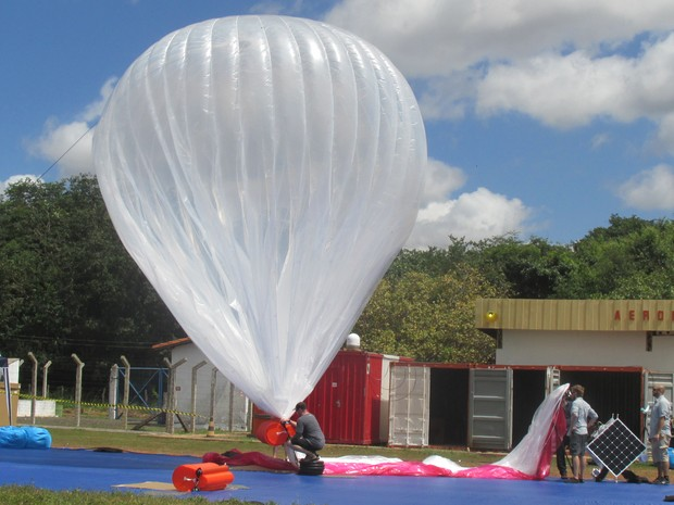 Google lançou balões de alta velocidade de internet pela primeira vez no Brasil (Foto: Catarina Costa/G1)