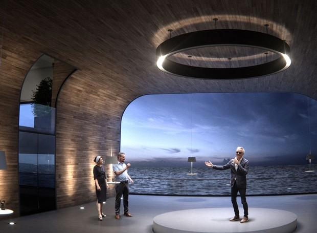 A parede de vidro, no interior do iate, permite uma vista deslumbrante aos navegantes (Foto: Hareide Design Norway/Divulgação)