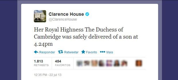 Twitter oficial anuncia nascimento do bebê real (Foto: Twitter / Reprodução)