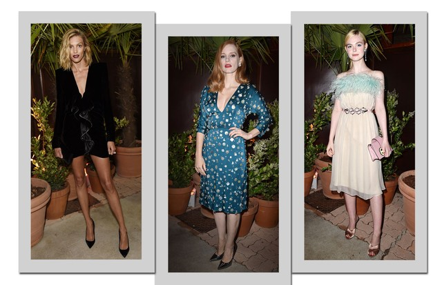 Anja Rubik, Jessica Chastain e Elle Fanning (Foto: Getty Images)