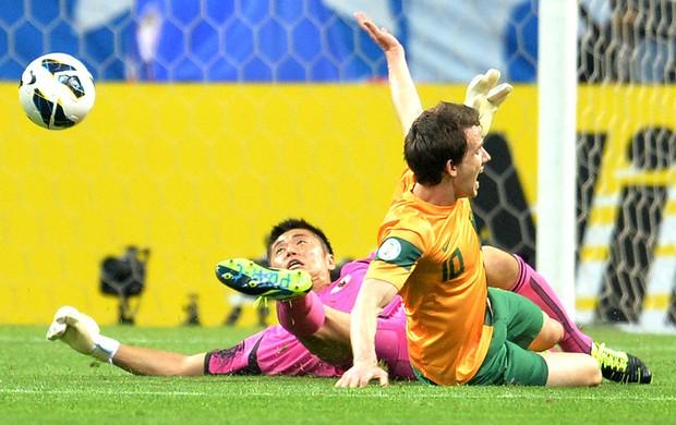 Eiji Kawashima jogo Japão Austrália Eliminatórias (Foto: AFP)