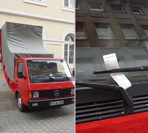 Instalação do artista recebeu multa ao ser confundida como sendo veículo (Foto: Reprodução/Facebook/ZKM)