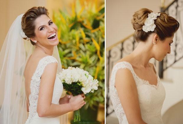 Look rom�ntico de Marcelo Hicho: o chignon enfeitado por um arranjo de flores lateral, com e sem v�u (Foto: Sabrina Vasconcelos)