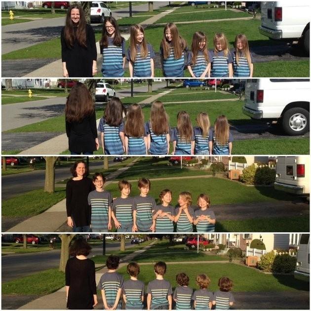 Phoebe e os seis filhos antes e depois do corte de cabelo (Foto: Reprodução Facebook)