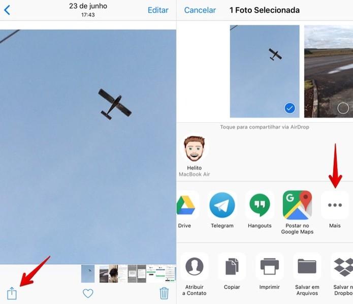 Abra o menu de compartilhamento no Snapchat (Foto: Reprodução/Helito Bijora)